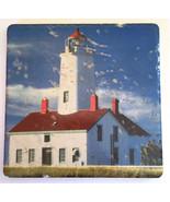 """Red & White Lighthouse on Rustic Italian Tile Handmade 6"""" x 6"""" - $6.66"""