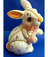 Lefton 1987 Easter Bunny Rabbit Figurine Statue White Pink Looks Like Qu... - $37.95