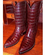 New Handmade Pure Crocodile Leather Cowboy Boot For Men's, crocodile lea... - $559.99