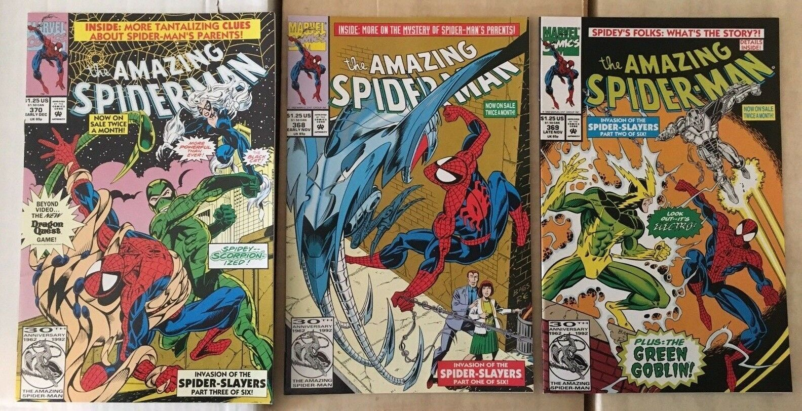 Amazing Spider-Man 368 369 370 Marvel Comic Book Lot 1992 NM+ Condition