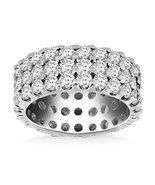 14k White Gold Triple Band Round Diamond Eternity Ring - $6,507.09+