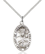 Sterling Silver O/L of Czestochowa Pendant 7/8 x 1/2 inch with 18 inch Chain - $61.43