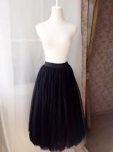 BLACK MAXI SKIRT Plus Size Elastic Full Long Black Tulle Skirt Black Party Skirt image 2