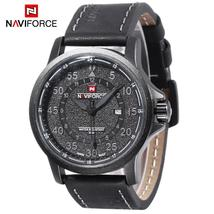 Naviforce 9076 Male Quartz Watch Date 24 Hours Display 3ATM Leather Band... - $24.45