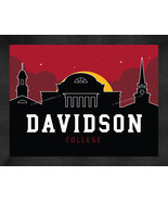 Davidson College Wildcats 13 x 16 Uscape with Retro Skyline Framed Print  - $39.95