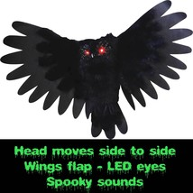 Spooky Halloween ANIMATED OWL Flapping Wings Haunted House Prop Decor-LE... - $49.47