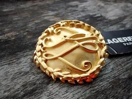 Vintage Goldtone Large Round Leaf Lagerfel Paris Pin With Tag Coat Brooch - $220.50