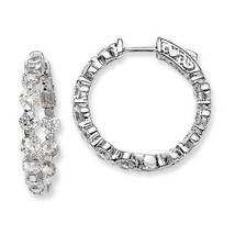 .925 Silver Rhodium-plated 4mm CZ In and Out Safety Clasp Hoop Earrings ... - $59.44