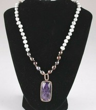 "Paul & Pitu Rose Gold Freshwater Pearl CZ Caseline Amethyst Pendant Necklace 18"" image 2"