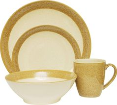 """SANGO """"MALIBU"""" GOLD 16 PIECE DINNER SET FOR 4 SOLID STONEWARE IVORY NEW IN BOX. - $399.90"""