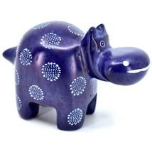 "Hand Carved Kisii Soapstone ""Happiness"" Dark Blue Hippopotamus Hippo Figure"