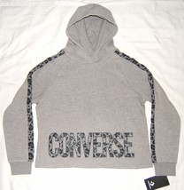 Converse Girls Hoodie Gray with Leopard Print Trim XL 13-15 yrs - $19.99