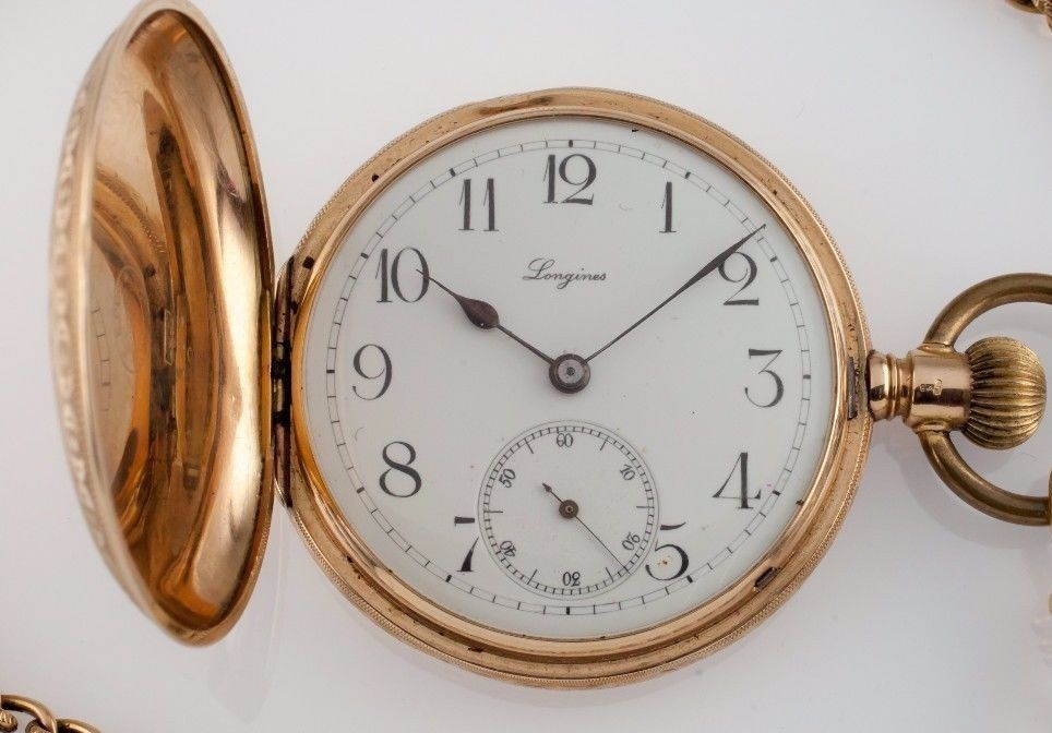 Primary image for 14k Yellow Gold Longines Grand Prix Full Hunter Pocket Watch Size 13S