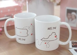 Miss You - Customizable Matching Coffee Mug Sets for Couples and Friends... - $30.99