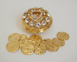 Gold Round Rhinestone Wedding Arras de boda with Coins Set - $27.18