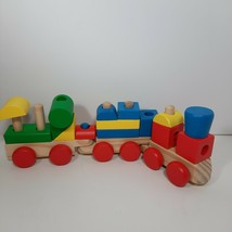 Melissa and Doug Wooden Stacking Train Building Blocks - includes 18 pieces - $8.35