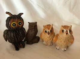 4 Mixed Lot Wooden Vintage Owl Figurines Made in China - $39.59