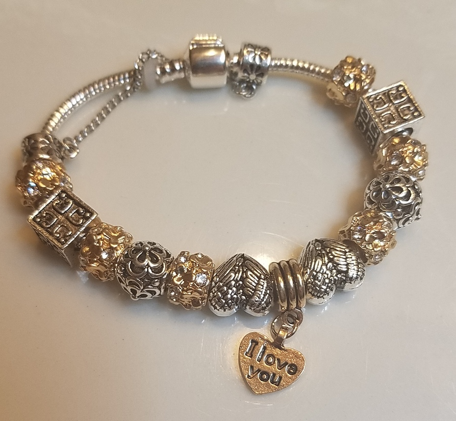 Yellow Charm Bracelet Pandora style