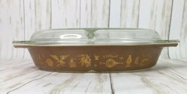 Vintage 70s PYREX Americana Eagle Brown Gold Divided Dish w/ Lid 1 1/2 Q... - $15.85