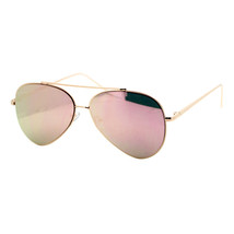 Pink Mirror Flat Lens Sunglasses Gold Metal Aviator Frame Womens Fashion - $9.85