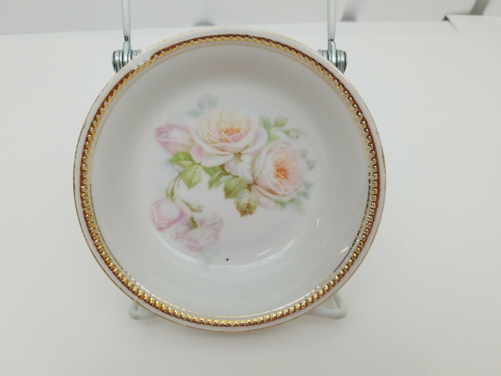 "PK Silesia China Dessert Bowls Lot of 7 White Roses Gold Trim 5 3/8"" Poland image 2"
