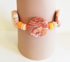 natural brown and orange large stone bracelet beaded stretch plastic gem... - $6.99