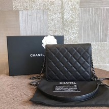 BNIB AUTHENTIC CHANEL BLACK QUILTED CAVIAR SQUARE FLAP BAG SHW image 2