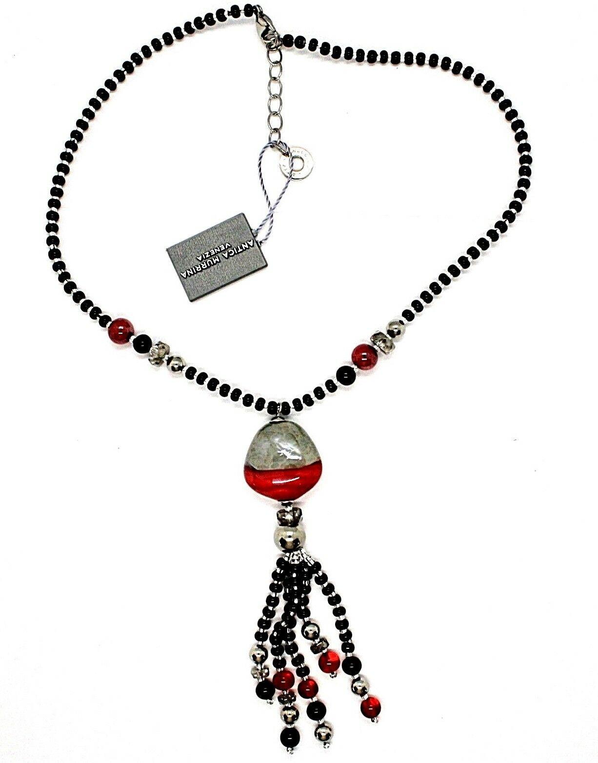 Halskette Antica Murrina Venedig mit Glas Beads Rot Schwarz Silver CO852A14