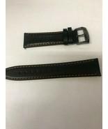 Citizen Eco-Drive CA0467-11H 23mm Black Leather Watch Band w/ Orange Sti... - $45.00