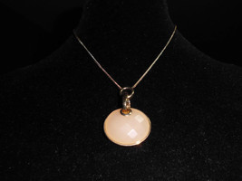 Vintage Gold Tone Peach Textured Pendant Choker Necklace - 16 inches adjustable - $5.94