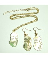 N0058 Gold Tone Art Retro Abstract Picasso Face Pendant Necklace Earrings - $8.99