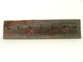 VTG/Antique Reclaimed Brown Red Barn Wood Rustic Coat Rack Wrought Head Nails - $145.00