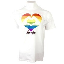 PRIDE BE YOU RAINBOW HEART LGBTQ+ UNISEX ADULT WHITE T-SHIRT S-XL FREE SHIP - £7.24 GBP