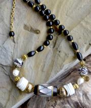 Abalone Shell Necklace, Shell Necklace, Abalone Bead Necklace, Antique g... - $19.99