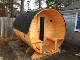 Outdoor Barrel Sauna Kit for 6 Persons, HarviaM3 Heater, Wood Frame Door  - $6,880.50