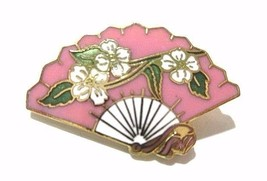 VINTAGE ORIENTAL CHINESE STYLE FAN PIN PINK AND WHITE ENAMEL FLOWERS  - $18.00