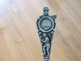 Old Gold Rush MINER San Francisco CA Sterling Silver Souvenir Spoon CALI... - $26.00