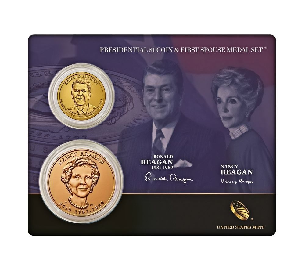 Primary image for 2016 US Mint Ronald Reagan Presidential $1 Coin & First Spouse Medal Set Sealed