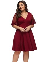 Lover-Beauty Womens Dresses Casual Plus Size V Neck Lace Short Sleeve Dress