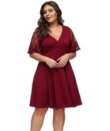 Lover-Beauty Womens Dresses Casual Plus Size V Neck Lace Short Sleeve Dress - $32.54+