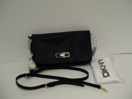 DKNY Donna Karan saffiano leather cross body bag ink color retail $225 - $128.65