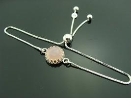 Pink Chalcedony 925 Sterling Silver Adjustable Tassel Bracelet - $55.00