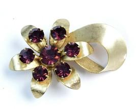 Shabby Chic Goldtone Flower Brooch Vintage Pin Purple Rhinestones - $17.82