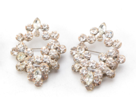 2 Lot Silvertone Rhinestone Scatter Brooches Pin Unsigned - $29.22