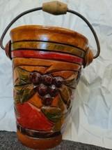 Vintage Folk Art Wood Ice Wine Bucket Hand Carved Painted Barware Colorful  - $38.39