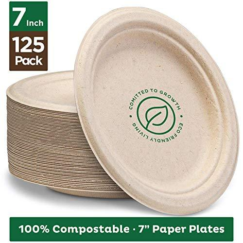 "Primary image for Stack Man 100% Compostable 7"" Paper Plates [125-Pack] Heavy-Duty Quality Natural"