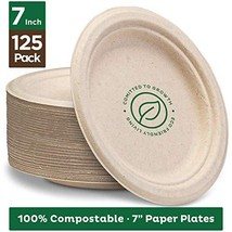 "Stack Man 100% Compostable 7"" Paper Plates [125-Pack] Heavy-Duty Quality... - $21.15"