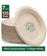 """Stack Man 100% Compostable 7"""" Paper Plates [125-Pack] Heavy-Duty Quality Natural - £14.83 GBP"""
