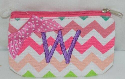 GANZ Brand Multi Color Chevron Monogram W Coin Purse With Light Purple Polka Dot