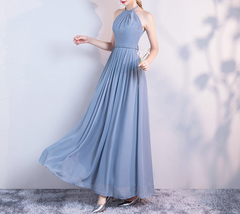 DUSTY BLUE Bridesmaid Dress 2019 Summer Chiffon Dusty Blue Bridesmaid Maxi Dress image 4